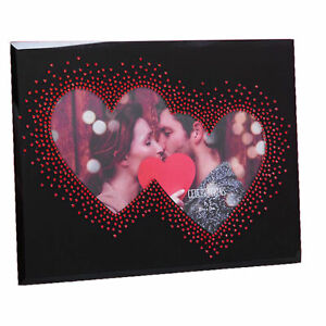 Black Glass 7' x 5' Photo Frame with Red Gem Double Heart