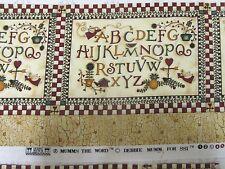 Debbie Mumm Fabric Border Pieces - Alphabet with angels & flowers -2 pcs