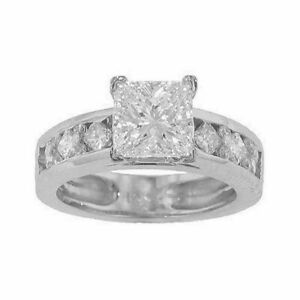 diamond Engagement Ring G SI1 with 2.46ct Round Cut diamond in 18K White Gold