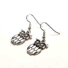 Vintage Silver Plated Owl Hollow Hook Earring Ear Stud Dangle Women Jewelry  Z