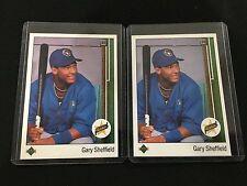 (2) GARY SHEFFIELD ROOKIES UPPER DECK 1989 BREWERS RC BASEBALL CARDS