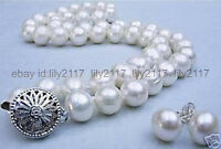 """Charm Fashion 11-12mm White Freshwater Pearl Necklace 18"""" Earrings Set"""