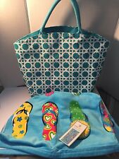 Ladies Beach Bag Swim Tote Huge Canvas Turquoise Flip Flop Beach Towel