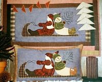 Here Comes Santa & Frosty Too country wall hanging applique snowman pattern NIP