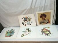 Vintage Norman Rockwell Set of Prints 5pc Lot Mid Century Art