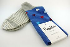 Happy Socks Women's Blue Gray with Colored Stripe Stars Cotton Socks 9-11