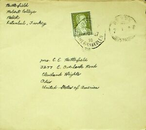 TURKEY 1947 POST WWII 2v ON COVER FROM ISTANBUL TO CLEVELAND OHIO USA