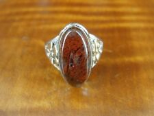Sterling Silver 925 Ring Size 7 1/2 Red Plume Agate Stone 12K Gold Fill and