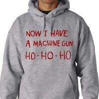 HO-HO-HO Now I Have A Machine Gun Hooded Sweat DIE HARD XMAS GEEK FUNNY HOODIE