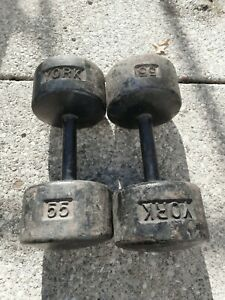 york roundhead dumbbells vintage deep thick grip (see all pics) highly collect