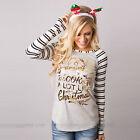 Womens Xmas Tops Christmas Deer Long Sleeve T-shirt Casual Pullover Blouse Shirt