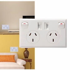 2 Switch Home Power Point Supply Plate AU Plug Dual USB Australian Wall Socket