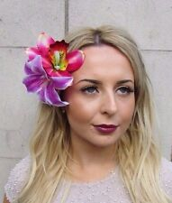 Double Pink Purple Lily Orchid Flower Hair Clip Rockabilly 1950s Fascinator 3051