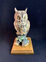 Vintage Owl Figurine w/ Wooden Base