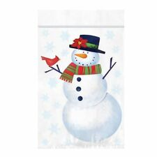 12 Resealable Snowman Bags/Great For Xmas Lolly Gift Bags/Xmas Party Favours