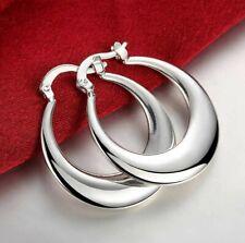 Womens 18K White Gold Plated Elegant Round Pierced Hoop Earrings
