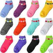 New 12 Pairs Dozen Womens Ankle Socks Multi Color Size 9-11 Argyle Solid Fashion