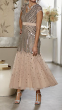 Ashro Giovanna Gown Beaded Dress Champagne Formal Party Cruise Size 14 20W PLUS