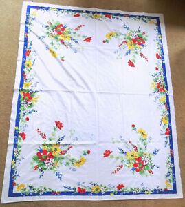 Vintage Wilendur Cloth Hand Printed Floral Pattern Tablecloth 65 x 52