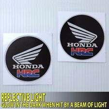 "2.1/8""X 2P. L&R HRC HONDA WING RACING DECALS GLOW SAFETY VINYL STICKER DIE CUT"