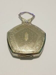 Antique Solid Silver Powder Compact Case with mirror Art Deco 1920s
