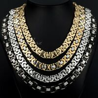 11mm Mens Flat Byzantine Link Necklace Gold&Silver Stainless Steel Chain Jewelry