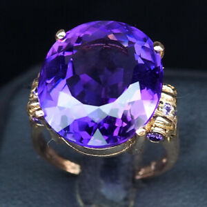 AMETHYST CHANGE PURPLE OVAL 16.80 CT. 925 STERLING SILVER ROSE GOLD RING SZ 7