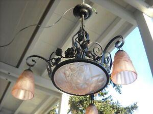 Deckenlampe Schmiedeeisen Glasschirme Rosenmotiv rose`