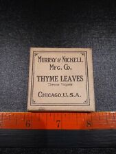 Vintage Thyme Leaves Crude Drug Advertising Box With Contents.