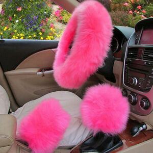 HOT Pink Elastic Fluffy Woolen Car Steering Wheel Cover Warm SPRING Universal