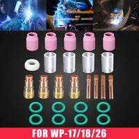 26pcs TIG Welding Torch Stubby Gas Lens #10 Pyrex Glass Cup Kit For WP-17/18/26