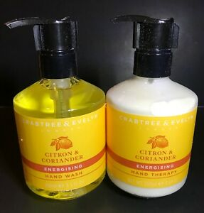 CRABTREE & EVELYN CITRON AND CORIANDER HAND WASH & HAND THERAPY DUO 8.5 OZ NEW