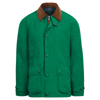 Polo Ralph Lauren Mens Leather Twill Barn Coat Aviator Green Jacket Parka NWT