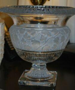 "RARE Shannon Godinger ATHENA Crystal Ireland Grapes Footed Planter Urn 9"" Vase"