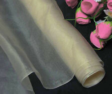 Top Quality Pure Silk Organza Bridal Fabric Dark Ivory by Meters Button