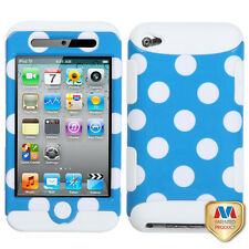 iPod Touch 4th Gen -Blue White Polka Dots Hard & Soft Silicone Armor Hybrid Case