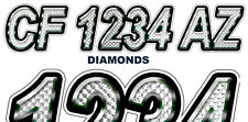 Diamonds Custom Boat Registration Numbers Decals Vinyl Lettering  (2 Sets) USCG