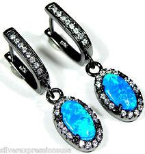 White Topaz & Blue Fire Opal Solid 925 Sterling Silver Black Rhodium Earrings