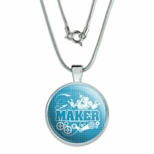 """Maker Blueprint Design with Robot and Gears 1"""" Pendant w/ Silver Plated Chain"""