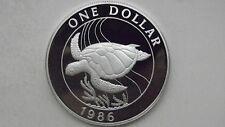 1986 Bermuda $1 Turtle Silver Proof coin