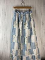 Handmade Women's Skirt Blue Floral Gingham Patchwork Full Length Cottage Core