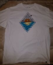 Used Men's HURLEY White Cotton Tagless Graphic Skater T-Shirt SZ L HTF 2016