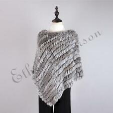 Fashion Real Farm Rabbit Fur Knitted Beauty Poncho Women Casual Shaw cape Topper