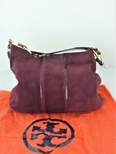 Tory Burch burgundy suede medium handbag