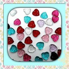 💖 🇬🇧FlatBack Red,blue,Frosty x 20 Resin Twinkling Heart Cabochons