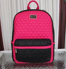 Betsey Johnson Be Mine Backpack Quilted Hearts Fuchsia School Travel Bag NWT