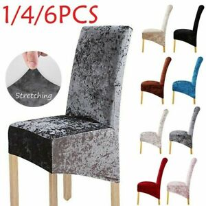 new Crushed Velvet Dining Chair Covers Stretchable Christmas Slipcover Decor