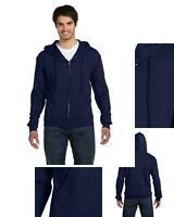 new Fruit of the Loom Mens Full Zip Hooded hoodie Sweatshirt Navy Small