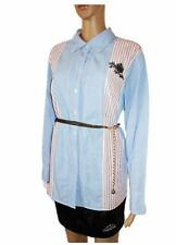 ULLA POPKEN Womens Blue Cotton Stripe Check Embroider Shirt Plus sz 20 22 AB96