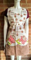 Vintage Flower Silverware Full Apron With Pocket -Stained